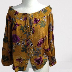 Harlow floral lace-up top, boho, size Medium